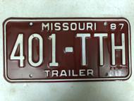 1987 MISSOURI Trailer License Plate 401-TTH
