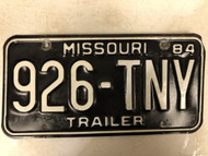 1984 MISSOURI Trailer License Plate 926-TNY Tiny