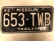 1982 MISSOURI Trailer License Plate 653-TWB