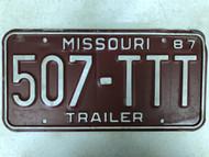 1987 MISSOURI Trailer License Plate 507-TTT Cool #