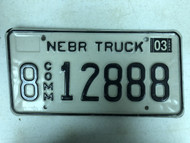 2003 Tag NEBRASKA Hall County Commercial Truck License Plate 8-12888