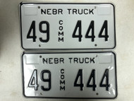 Expired NEBRASKA Howard County Commercial Truck License Plate 49-444 PAIR