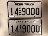 Expired NEBRASKA Adams County Commercial Truck License Plate 14-9000 PAIR