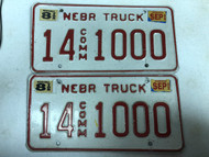 2002 Tag NEBRASKA Adams County Commercial Truck License Plate 14-1000 PAIR