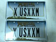 Expired MONTANA Big Sky Country License Plate X-USXXM Mountain Range PAIR