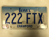 Expired IOWA Crawford County License Plate 222-FTX Farm Silo City Silhouette