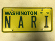 Expired WASHINGTON License Plate N A R I  Spaced Letters