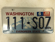 2005 Tag WASHINGTON Evergreen State License Plate 111-SOZ Mountain