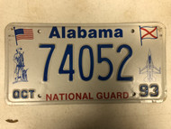1993 ALABAMA Natonal Guard License Plate 74052 Jet Plane Soldier American Flag Alabama Flag