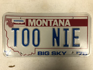 1976 MONTANA Big Sky '76 Bicentennial License Plate TOO-NIE Cow Skull