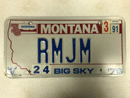 1976 (1991 Tag) MONTANA Big Sky '76 Bicentennial License Plate RMJM Cow Skull