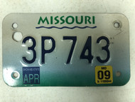 2009 MISSOURI Cycle License Plate 3P-743