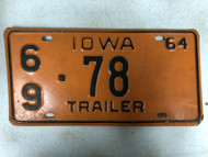1964 IOWA Montgomery County Trailer License Plate 69-78