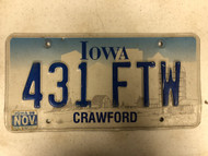 "November 1999 Tag IOWA Crawford County License Plate 431-FTW ""For The Win"" Farm Silo City Silhouette"