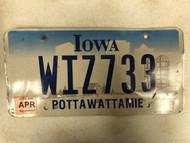 April 2006 Tag IOWA Pottawattamie County License Plate WIZ733 Wiz Farm Silo City Silhouette
