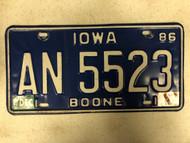 1986 (December 1987 Tag) IOWA Boone County License Plate AN-5523
