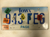 Expired (Multiple Tags) IOWA Page County License Plate 943-FEG Farm Silo City Silhouette