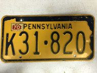 1970 Tag PENNSYLVANIA License Plate K31-820 Keystone