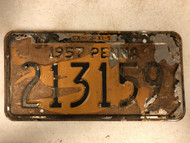 1957 Expiraton 3-31-58 PENNSYLVANIA License Plate Y3786