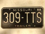 1988 MISSOURI Trailer License Plate 309-TTS