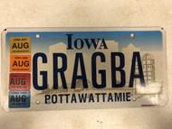 August 2004, 05, 06, 07 Multiple Tags IOWA Pottawattamie County License Plate GRAGBA Farm Silo City Silhouette