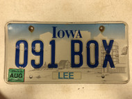 August 2009 Tag IOWA Lee County License Plate 091-BOX Box Farm Silo City Sihlouette