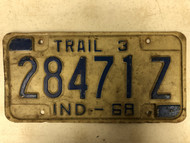 1968 INDIANA Trail 3 License Plate 28471-Z
