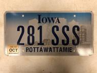October 2007 Tag IOWA Pottawattamie County License Plate 281-SSS Cool # Farm Silo City Silhouette