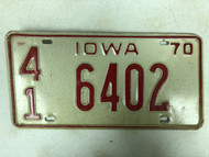 1970 IOWA Hancock County License Plate 41-6402