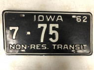 1962 IOWA Black Hawk County Non-Res. Transit License Plate 7-75