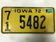 1972 (1973 Tag) IOWA O'Brien County License Plate 71-5482