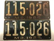 Pair of DMV Clear 1925 MISSOURI Passenger License Plates YOM Clear 115-026 MO