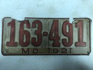 DMV Clear 1921 MISSOURI Passenger License Plate YOM Clear 163-491 MO