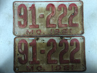 Pair of DMV Clear 1921 MISSOURI Shorty Passenger License Plates YOM Clear 91-222 MO