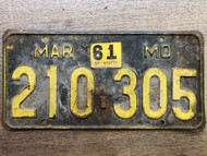 DMV Clear 1956-1961 MISSOURI Passenger License Plate YOM Clear 210-305 MO