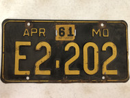 DMV Clear 1956-61 MISSOURI Passenger License Plate YOM Clear E2-202 MO
