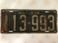 DMV Clear 1935 MISSOURI Passenger License Plate YOM Clear 113-993 MO