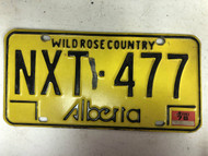 1976 Tag ALBERTA Wild Rose Country License Plate NXT-477