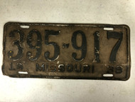 DMV Clear 1938 MISSOURI Passenger License Plate YOM Clear 395-917 MO