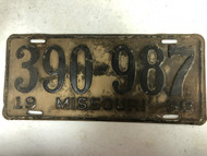 DMV Clear 1938 MISSOURI Passenger License Plate YOM Clear 390-987 MO