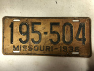 DMV Clear 1936 MISSOURI Passenger License Plate YOM Clear 195-504 MO