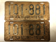PAIR of DMV Clear 1936 MISSOURI Passenger License Plates YOM Clear 101-881 MO