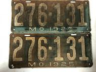 PAIR of DMV Clear 1925 MISSOURI Passenger License Plates YOM Clear 276-131 MO