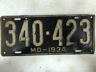 DMV Clear 1934 MISSOURI Passenger License Plate YOM Clear 340-423 MO