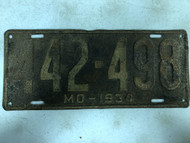 DMV Clear 1934 MISSOURI Passenger License Plate YOM Clear 442-498 MO