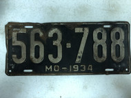 DMV Clear 1934 MISSOURI Passenger License Plate YOM Clear 563-788 MO