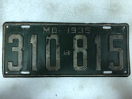 DMV Clear 1935 MISSOURI Passenger License Plate YOM Clear 310-815 MO