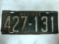 DMV Clear 1935 MISSOURI Passenger License Plate YOM Clear 427-131 MO