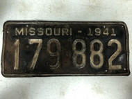 DMV Clear 1941 MISSOURI Passenger License Plate YOM Clear 179-882 MO