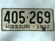 DMV Clear 1942 MISSOURI Passenger License Plate YOM Clear 405-269 MO